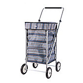 Sabichi 4 Wheel 60L Shopping trolley, Rupert Blue Check