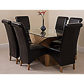 Valencia Glass & Oak 160 cm Dining Table with 6 Black Montana Leather Chairs