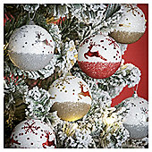 Tree and Reindeer Christmas Baubles, 12 pack