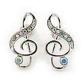Silver Tone AB Crystal Treble Clef Stud Earrings - 20mm Length