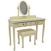 Loire - Solid Wood Dressing Table, Mirror And Stool - Cream