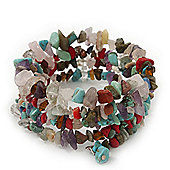 Multi-Coloured Stone Coil Flex Bangle Bracelet (Semi-precious stone) - Adjustable