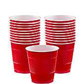 Apple Red Cups - 266ml Plastic Party Cups, Pack of 20