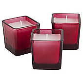 Tesco Set of 3 filled candles red