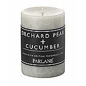 Parlane Pillar Candle with Orchard Pear & Cucumber Fragrance - 10cm