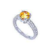 QP Jewellers Diamond & Citrine Fantasy Ring in 14K White Gold