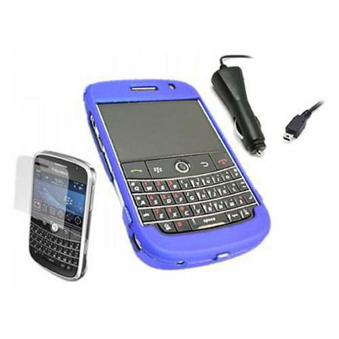 iTALKonline Blue Hybrid Case, LCD Screen Protector and Car Charger - For BlackBerry 9000 Bold