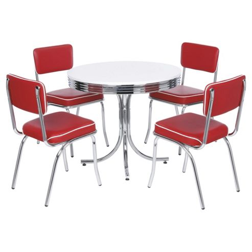 Buy Rydell 4 Seat Round Dining Set With Chairs Red From