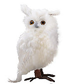 Large Right Facing White Fluffy Feathered Owl Christmas Ornament