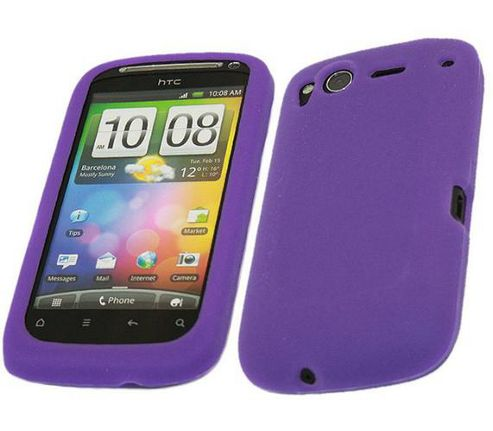 iTALKonline SoftSkin Silicone Case Purple - For HTC Desire S