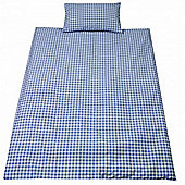 Saplings Cot Bed Quilt & Pillowcase Set - Blue Gingham