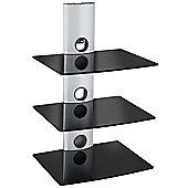 VonHaus 3 x Floating Black Glass Shelves for DVD/Blu-Ray Player, Sky/TiVo Box, Game Console