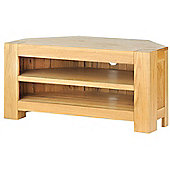 Solid Oak Chunky Corner TV Unit