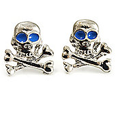 Silver Tone Skull & Crossbones Stud Earrings