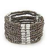 Multistrand Beige Grey Glass/Silver Acrylic Bead Flex Bracelet - 19cm Length