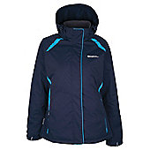 North Womens Snowproof Hooded Fleece Lined Snowboarding Skiing Ski Jacket - Blue