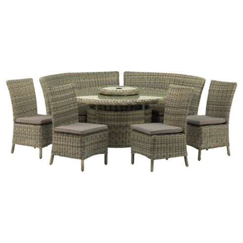 Royalcraft Modena Round Fan Bench Dining Set 8 seater Natural Weave Effect