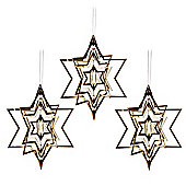 Set of Three Gold Metal Hanging Star Christmas Decorations