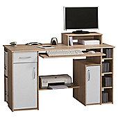Maja- Möbel 1 Drawer Computer Desk - Oak Truffle/White