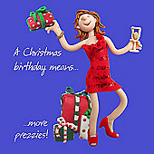 Holy Mackerel A Christmas Birthday Means More Prezzies Greetings Card