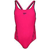 Speedo Monogram Muscleback Womens Ladies Swimsuit Swim Costume - Pink