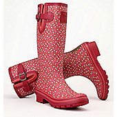 Evercreatures Ladies Cedar Wellies Printed Green & Pink Pattern 3