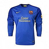 2013-14 Barcelona Away Nike Goalkeeper Shirt (Blue) - Kids - Blue