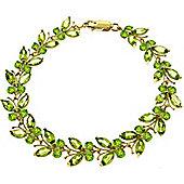 QP Jewellers 6in 16.50ct Peridot Butterfly Bracelet in 14K Gold