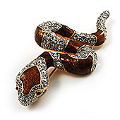 Mesmerizing Brown Enamel Swarovski Crystal Snake Brooch