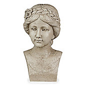Stone Look Resin Flower Girl with Braid Bust Garden Statue Ornament