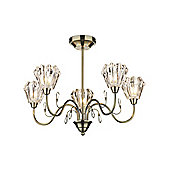 Contemporary Antique Brass Ceiling Light with Etched Clear Glass Shades