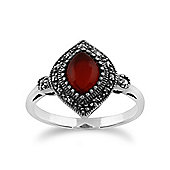 Gemondo 925 Sterling Silver 1.00ct Carnelian & Marcasite Art Deco Ring