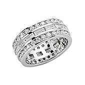 Jewelco London Rhodium-Coated Sterling Silver CZ Eternity Ring Size