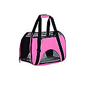 PawHut Pet Bag Travel Tote Carrier Safety Mesh Portable Folding Handbag Holder Kennel Crate Cage (Rose red)