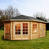 Mercia Garden Products Corner Lodge Cabin for Right Sided Gardens - Grande- 286 cm H x 500 cm W x 500 cm W