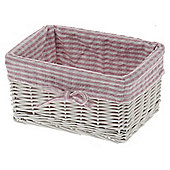 Wicker Valley Storage Basket with Gingham Lining - Pink - Medium