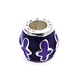 Amore & Baci Purple Enamel Barrel Bead -