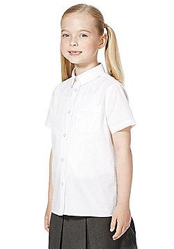 F&F School 5 Pack of Girls Non-Iron Short Sleeve Shirts - White