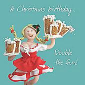 Holy Mackerel A Christmas Birthday! Double The Fun Greetings Card