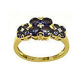 Gemondo Gold Plated Silver 1.16ct Iolite & 2pt Diamond Three Flower Ring