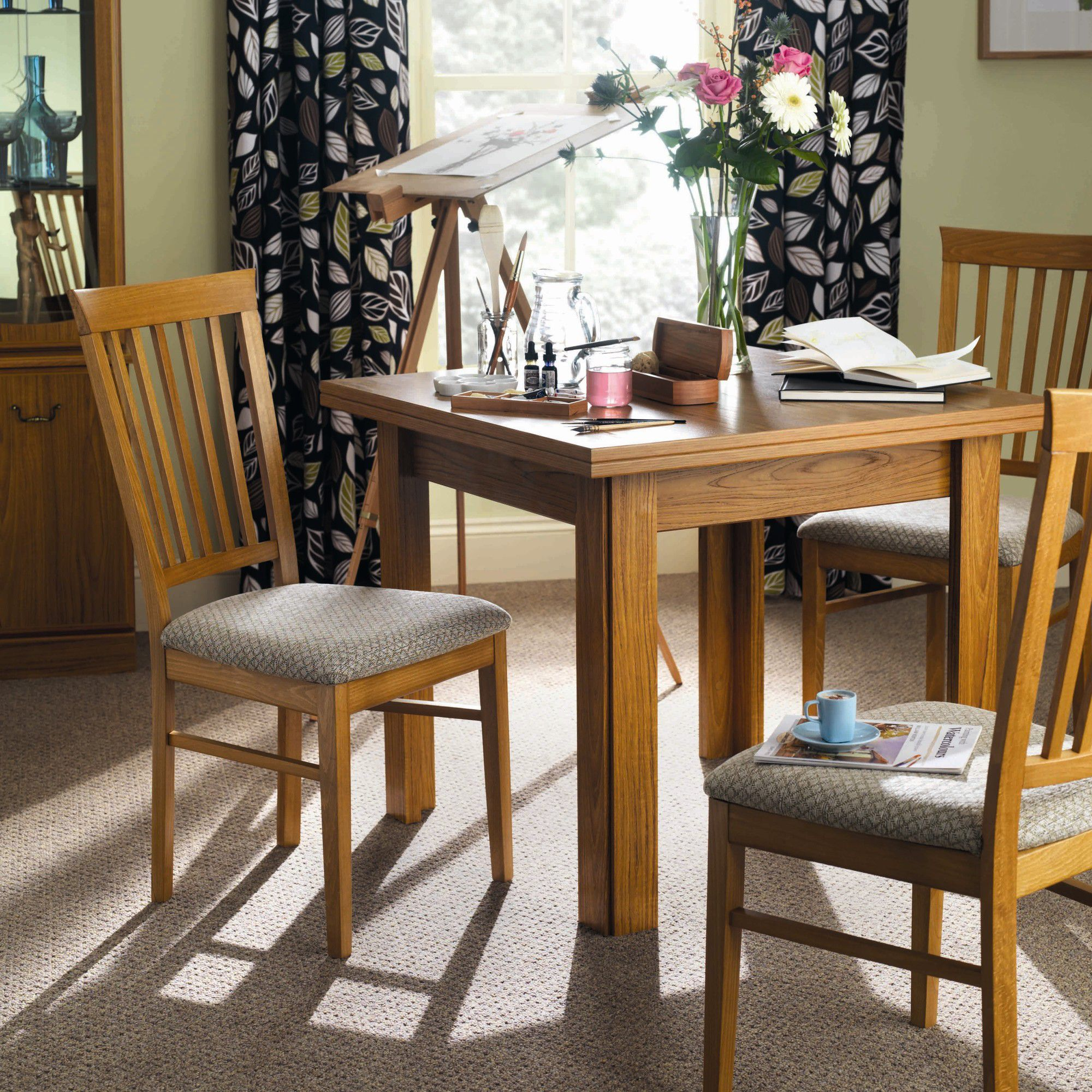 Caxton Tennyson Butterfly Dining Set with 4 Slatted Back Dining Chairs in Teak - Oyster Beige at Tesco Direct