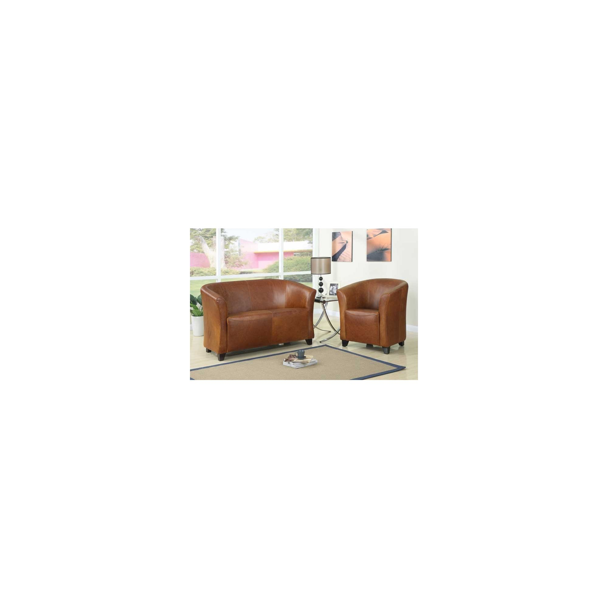Hawkshead Club Antique Leather Two Seater Sofa at Tesco Direct
