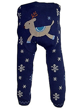 Dotty Fish Knitted Baby Leggings - Navy with Snowflakes and Reindeer - Navy