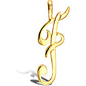 Jewelco London 9ct Gold Script Initial ID Personal Pendant, Letter F -1.4g