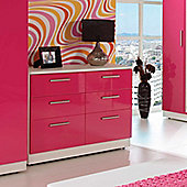 Welcome Furniture Knightsbridge 6 Drawer Chest - Cream - Tangerine