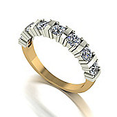 18ct Gold 7 Stone Bar Set Moisanite Eternity Ring