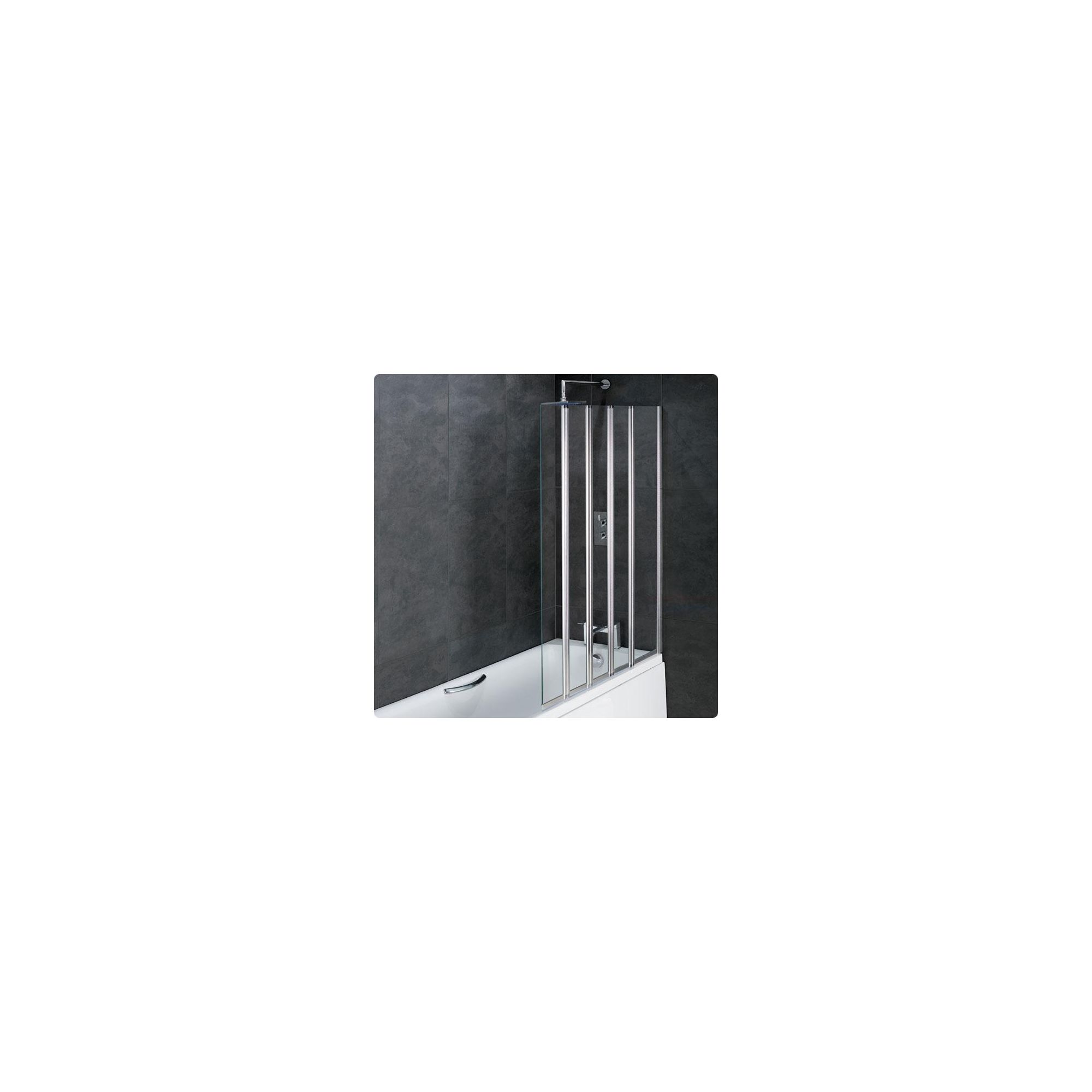 Duchy ROSETTA Folding Bath Screen 1 Fixed Panel with 4 Folding Panels RIGHT HANDED with Silver Profile (1250mm Wide x 1400mm High) at Tesco Direct
