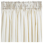 "Plain Canvas Lined Pencil Pleat Curtains W112xL137cm (44x54"") - - Ivory"