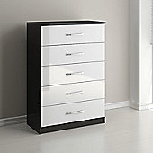 Birlea Lynx Five Drawer Chest - Cream and Walnut