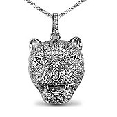Jewelco London Rhodium Coated Sterling Silver CZ tigers head Charm Pendant - 18 inch Chain
